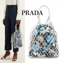 PRADA Flower Patterns Blended Fabrics Street Style 3WAY Leather