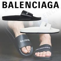 BALENCIAGA Street Style Plain Leather Shower Shoes Shower Sandals