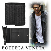 BOTTEGA VENETA Street Style Plain Leather Folding Wallets