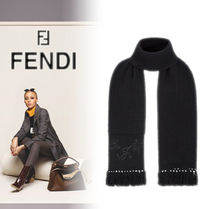 FENDI Flower Patterns Cashmere Fringes Heavy Scarves & Shawls