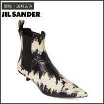 Jil Sander Casual Style Leather Pin Heels Chelsea Boots Python