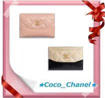 CHANEL ICON Plain Leather Card Holders