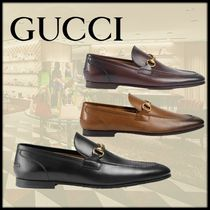 GUCCI Plain Toe Moccasin Street Style Plain Leather