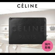 CELINE Unisex Plain Leather Elegant Style Clutches