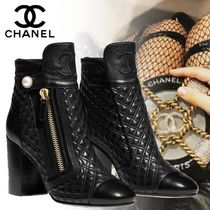 CHANEL Other Check Patterns Leather Elegant Style Chunky Heels