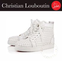Christian Louboutin Rubber Sole Lace-up Casual Style Studded Street Style Plain