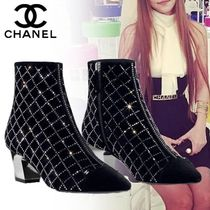 CHANEL Other Check Patterns Suede Blended Fabrics Elegant Style