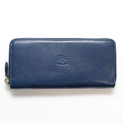 Unisex Plain Leather Handmade Long Wallets