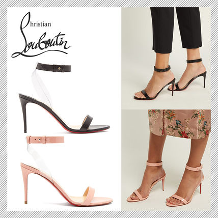 newest ea7a6 7afc1 Christian Louboutin Jonatina Plain Leather Pin Heels Elegant Style Heeled  Sandals