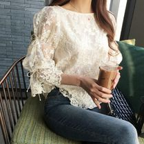 Flower Patterns Puffed Sleeves Office Style Shirts & Blouses