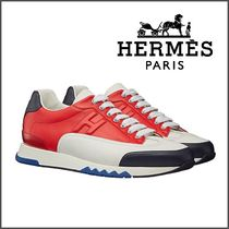 HERMES Street Style Leather Sneakers