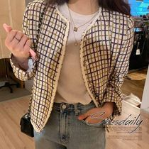 Other Check Patterns Casual Style Tweed Medium Jackets