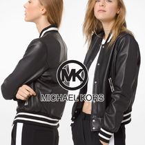 Michael Kors Short Plain Leather Varsity Jackets