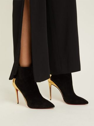d47dad190ad8 ... Christian Louboutin Ankle   Booties Suede Plain Pin Heels Elegant Style  Ankle   Booties Boots 6 ...