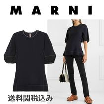 MARNI Blended Fabrics Plain Short Sleeves Elegant Style