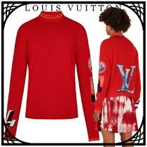 Louis Vuitton Street Style Long Sleeves Plain Cotton Logos on the Sleeves
