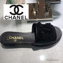 CHANEL Open Toe Plain Leather Block Heels Elegant Style Sandals