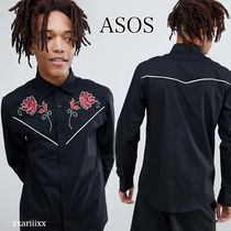 ASOS Button-down Flower Patterns Street Style Long Sleeves Plain