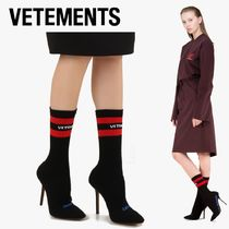VETEMENTS Stripes Casual Style Pin Heels Ankle & Booties Boots