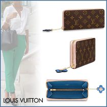 Louis Vuitton CLEMENCE Monogram Canvas Blended Fabrics Bi-color Long Wallets