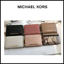 Michael Kors JET SET TRAVEL Plain Leather Coin Purses