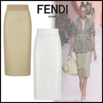 FENDI Pencil Skirts Monogram Leather Long Elegant Style