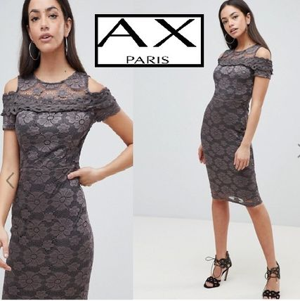 Crew Neck Tight Medium Short Sleeves Party Style Lace