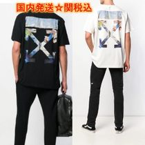 Off-White Crew Neck Pullovers Unisex Street Style Short Sleeves