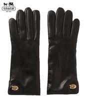 Coach TURNLOCK Blended Fabrics Plain Leather Leather & Faux Leather Gloves