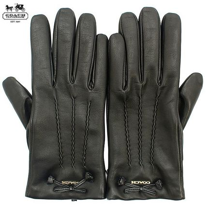 Coach Leather & Faux Leather Blended Fabrics Plain Leather Leather & Faux Leather Gloves