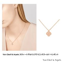Van Cleef & Arpels Sweet Alhambra Flower 18K Gold Elegant Style Necklaces & Pendants