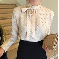 Dots Casual Style Chiffon Street Style Bi-color Long Sleeves