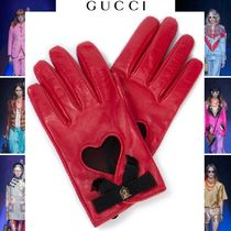 GUCCI Heart Plain Leather Leather & Faux Leather Gloves