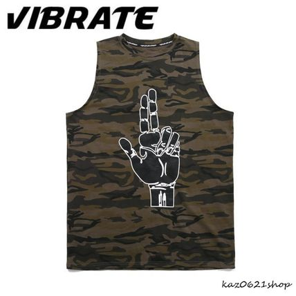 Camouflage Cotton Logo Tanks