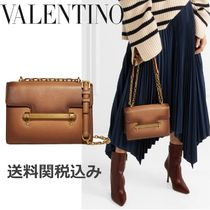 VALENTINO 2WAY Chain Plain Leather Elegant Style Shoulder Bags