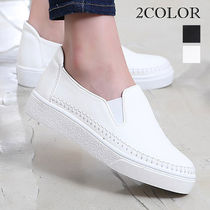Wedge Round Toe Casual Style Faux Fur Studded Plain