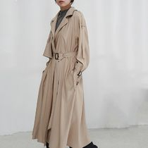 Plain Long Midi Office Style Oversized Khaki Trench Coats