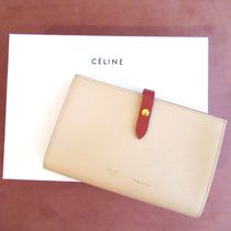 CELINE Strap Calfskin Bi-color Long Wallets
