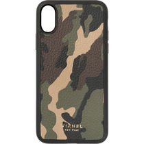 Ron Herman Camouflage Unisex Leather Handmade Smart Phone Cases