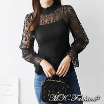 Flower Patterns Lace-up Long Sleeves Medium Lace