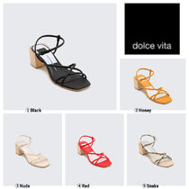 dolce vita Open Toe Casual Style Plain Other Animal Patterns Leather