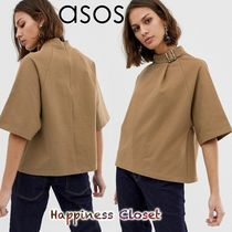 ASOS Short Plain Cotton Short Sleeves High-Neck Cropped