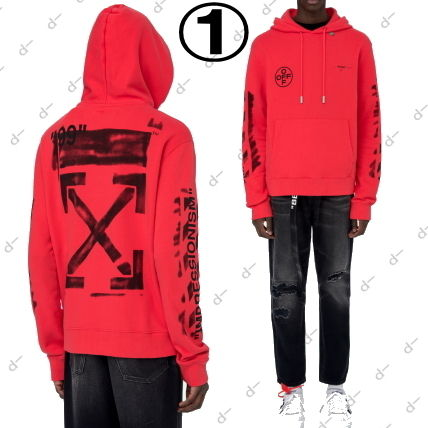 Off-White Hoodies Unisex Street Style Long Sleeves Cotton Hoodies 4