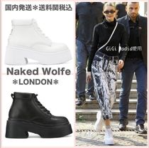 Naked Wolfe Round Toe Lace-up Casual Style Plain Leather Handmade