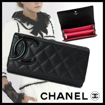 CHANEL CAMBON Plain Leather Long Wallets