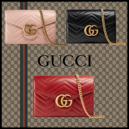 dbbabf3c325 GUCCI GG Marmont 2019 SS 2WAY Plain Leather Shoulder Bags (474575 ...