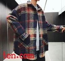 Other Check Patterns Wool Street Style Long Trench Coats