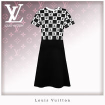 Louis Vuitton Other Check Patterns Casual Style A-line U-Neck Chain Medium
