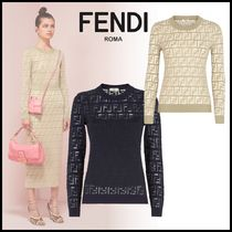 FENDI Crew Neck Rib Long Sleeves Cotton Logos on the Sleeves