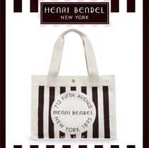 Henri Bendel Stripes Casual Style Canvas Totes